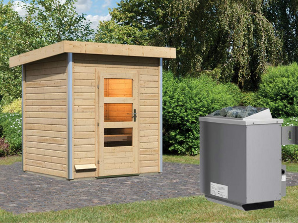 Saunahaus Jorgen mit Klarglastür, inkl. 9 kW Saunaofen mit integrierter Steuerung
