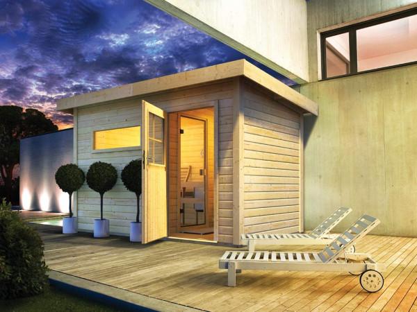 Saunahaus Suva 1 mit Holztür & Vorraum, inkl. 9 kW Saunaofen mit integrierter Steuerung