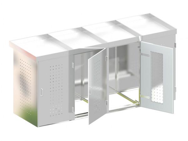 Mülltonnenbox für 4 Behälter, Edelstahl
