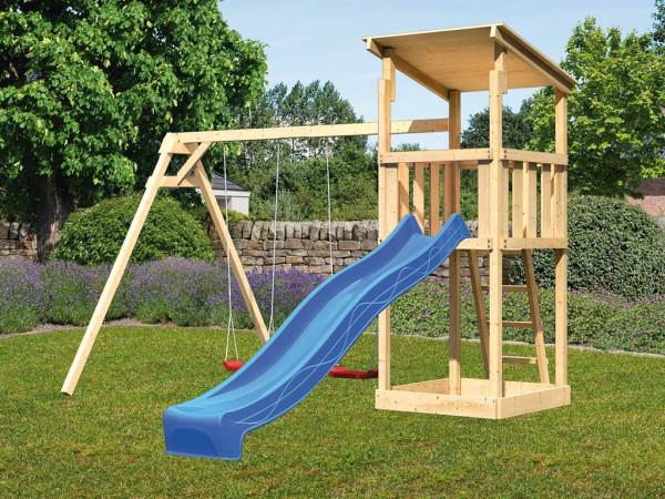 Spielturm SET Anna naturbelassen inkl. Rutsche blau + Doppelschaukel