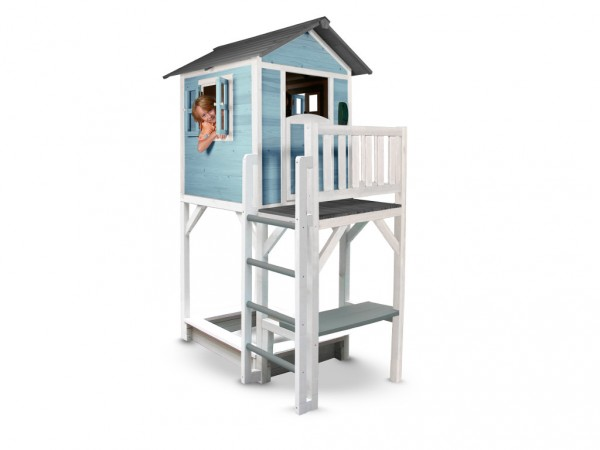 "Kinderspielhaus ""Lodge XXL PLUS"" blau/weiß, Massivholz"