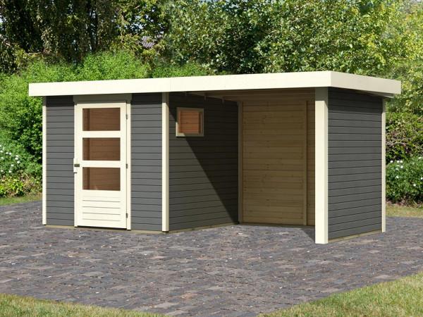 Gartenhaus SET Oburg 2 19 mm terragrau, inkl. 2,4 m Anbaudach + Seiten- & Rückwand