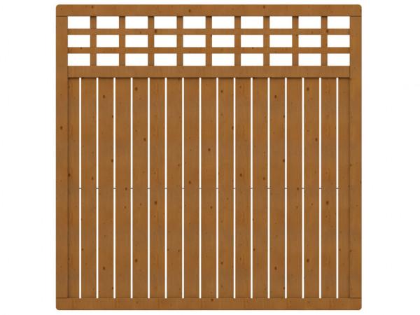 Sichtschutzzaun COMO Rechteck mit Gitter braun