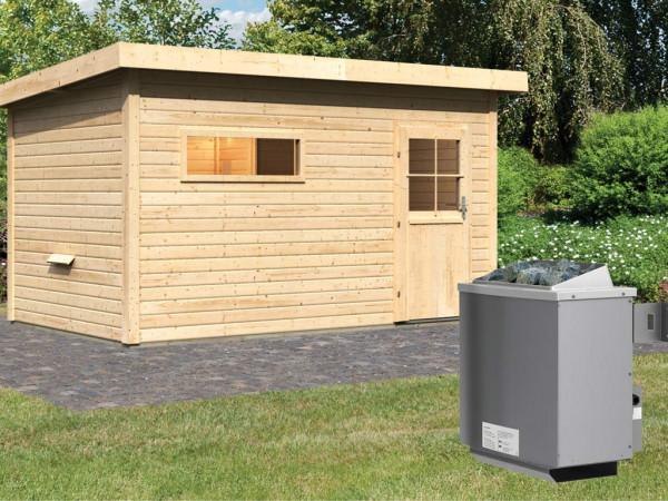 Saunahaus Suva 3 mit Holztür & Vorraum, inkl. 9 kW Saunaofen mit integrierter Steuerung