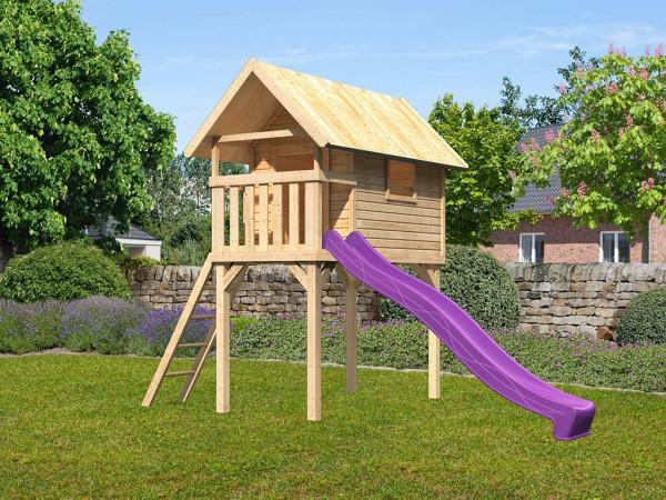 Stelzenhaus SET Gernegroß naturbelassen inkl. Rutsche violett