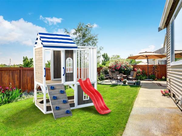 Spielturm Set Felias grau/weiß/blau mit Wasserrutsche tweeb rot
