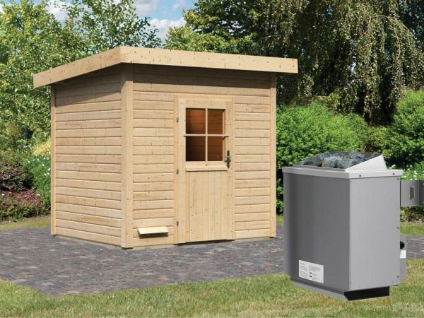 Saunahaus Nella mit Holztür, inkl. 9 kW Saunaofen mit integrierter Steuerung