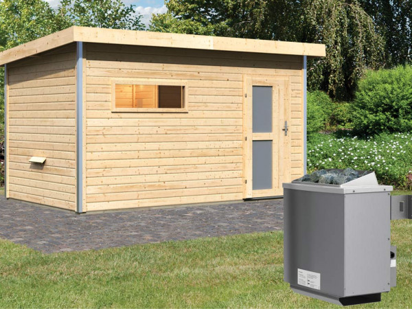 Saunahaus Skrollan 3 mit Milchglastür & Vorraum, inkl. 9 kW Saunaofen mit integrierter Steuerung