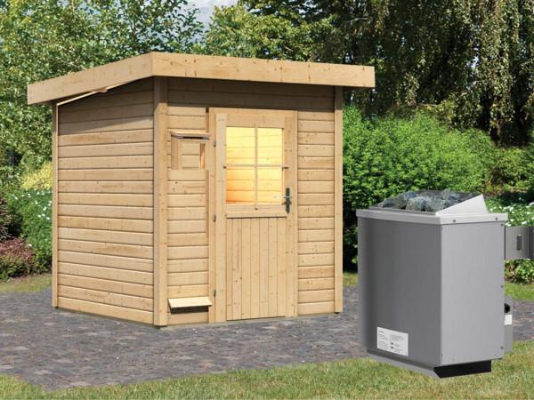 Saunahaus Taina mit Holztür, inkl. 9 kW Saunaofen mit integrierter Steuerung