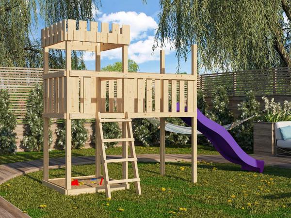Spielturm SET Ritterburg Löwenherz naturbelassen inkl. Rutsche violett + Anbauplattform XL