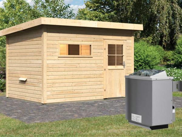 Saunahaus Suva 2 mit Holztür & Vorraum, inkl. 9 kW Saunaofen mit integrierter Steuerung