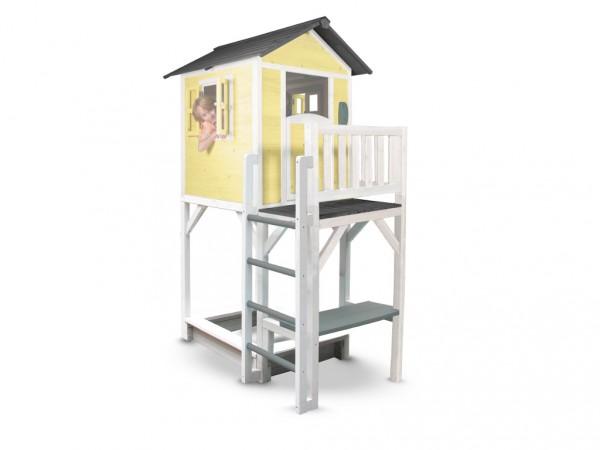 "Kinderspielhaus ""Lodge XXL PLUS"" gelb/weiß, Massivholz"