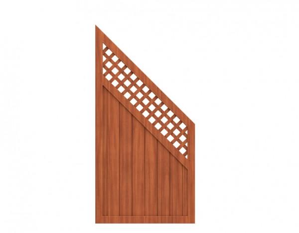 "Sichtschutzzaun ""LONGLIFE RIVA"" Abschlusselement mit Gitter braun"