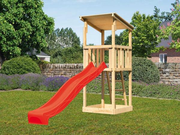 Spielturm SET Anna naturbelassen inkl. Rutsche rot