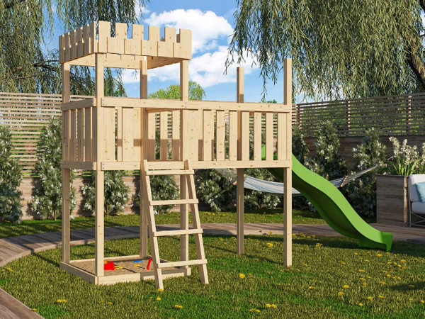 Spielturm SET Ritterburg Löwenherz naturbelassen inkl. Rutsche grün + Anbauplattform XL