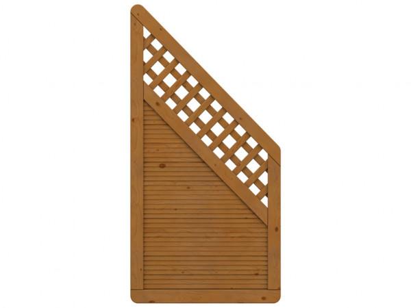 Sichtschutzzaun ARZAGO Abschlusselement mit Gitter braun