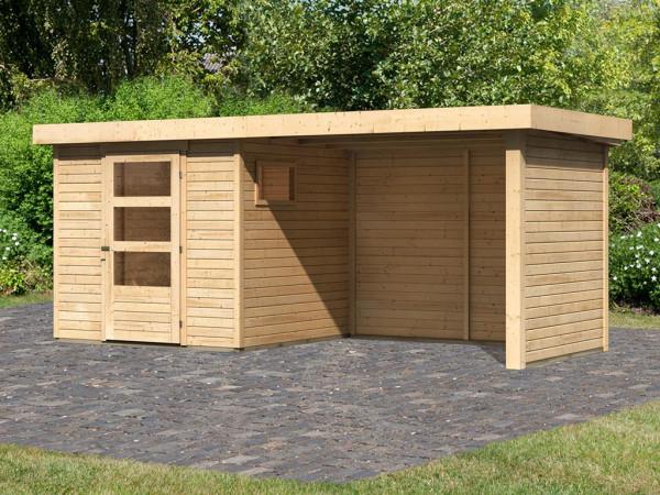 Gartenhaus SET Oburg 2 19 mm naturbelassen, inkl. 2,8 m Anbaudach + Seiten- & Rückwand