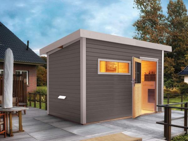 Saunahaus Suva 2 Grau mit Holztür & Vorraum, inkl. 9 kW Saunaofen mit integrierter Steuerung