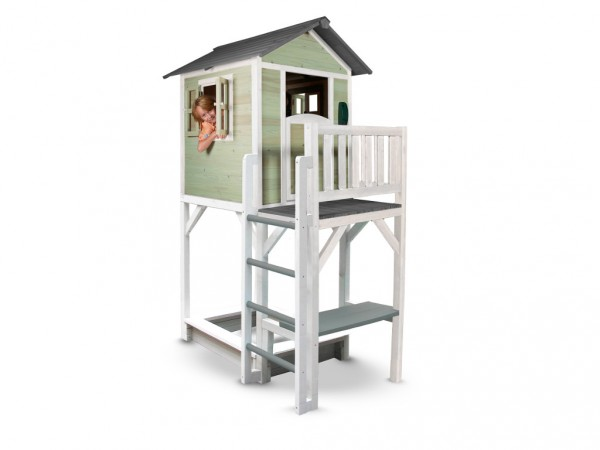 "Kinderspielhaus ""Lodge XXL PLUS"" grün/weiß, Massivholz"