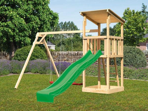 Spielturm SET Anna naturbelassen inkl. Rutsche grün + Doppelschaukel