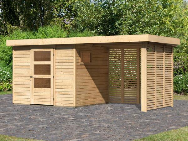 Gartenhaus SET Oburg 3 19 mm naturbelassen, inkl. 2,4 m Anbaudach + Lamellenwände