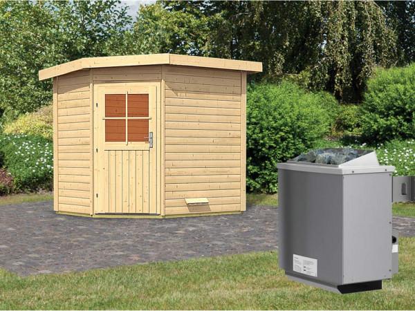 Saunahaus Mayla mit Holztür, inkl. 9 kW Saunaofen mit integrierter Steuerung
