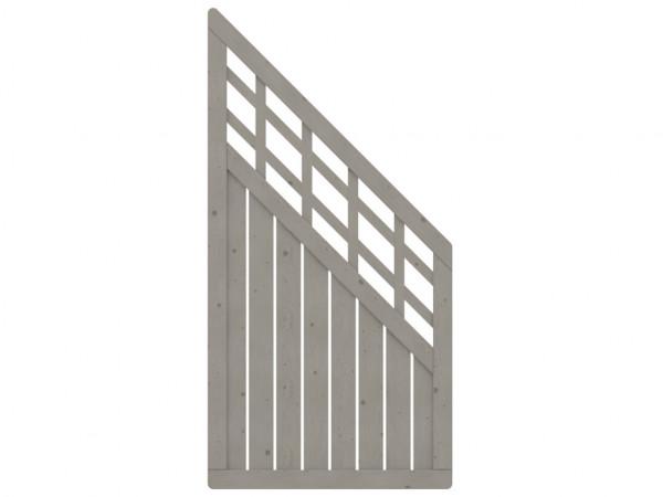Sichtschutzzaun COMO Abschlusselement mit Gitter grau