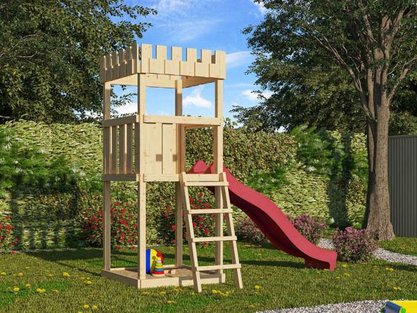 Spielturm SET Ritterburg Löwenherz naturbelassen inkl. Rutsche rot