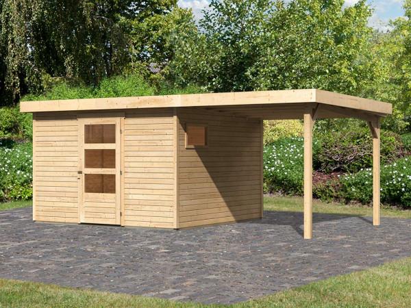 Gartenhaus SET Oburg 6 19 mm naturbelassen, inkl. 2,4 m Anbaudach
