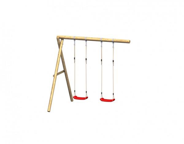"""Spielturm """"FIPS"""" Schaukelanbau mit Seil, 2 Sitzen, Schellen"""