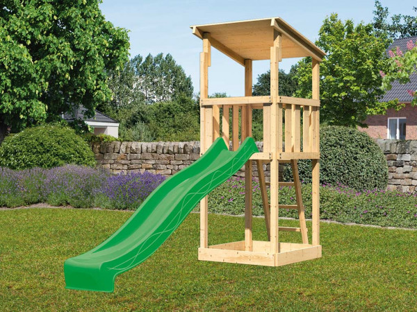 Spielturm SET Anna naturbelassen inkl. Rutsche grün