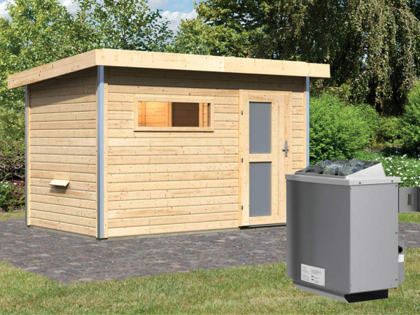 Saunahaus Skrollan 1 mit Milchglastür & Vorraum, inkl. 9 kW Saunaofen mit integrierter Steuerung