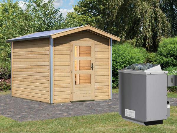 Saunahaus Bosse 1 mit Klarglastür & Vorraum, inkl. 9 kW Saunaofen mit integrierter Steuerung