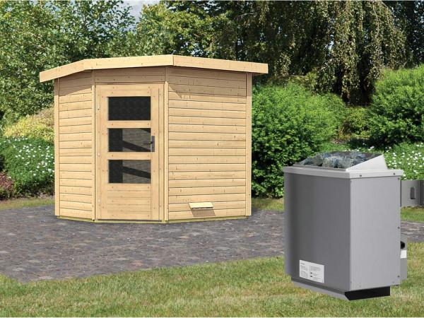 Saunahaus Mikka mit Klarglastür, inkl. 9 kW Saunaofen mit integrierter Steuerung