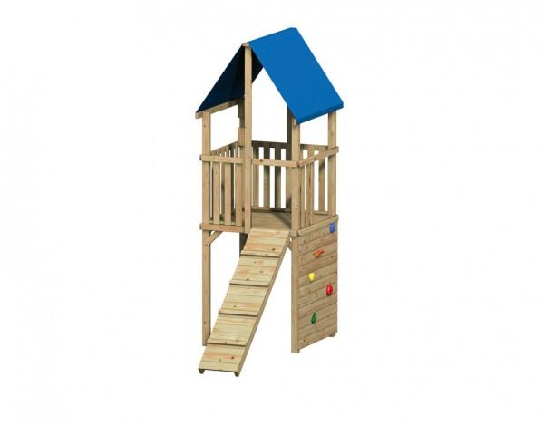 """Spielturm """"FIPS"""" mit Kletterwand/-Steg"""