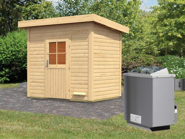 Saunahaus Kristina mit Holztür, inkl. 9 kW Saunaofen mit integrierter Steuerung