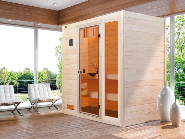Sauna Massivholzsauna Valida 2 mit Klarglastür und Fenster
